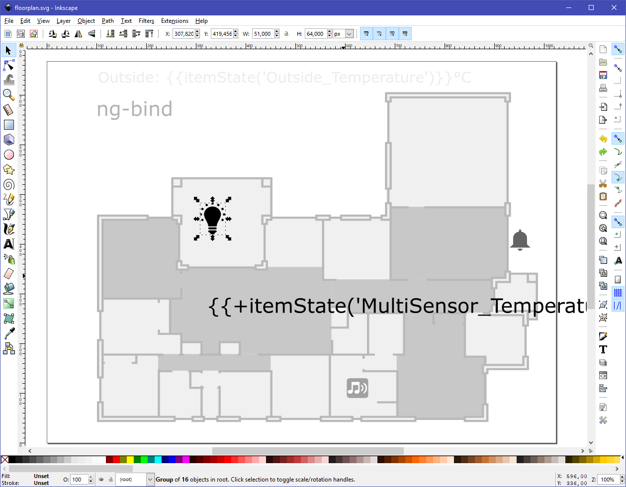 Design your SVG floorplan or dashboard for HABPanel with Inkscape