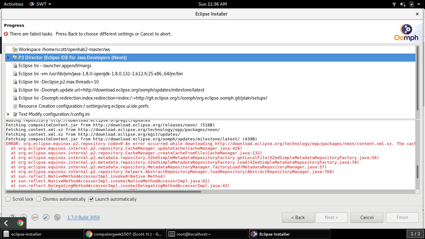 Eclipse Installer Error - IDE & Build - openHAB Community