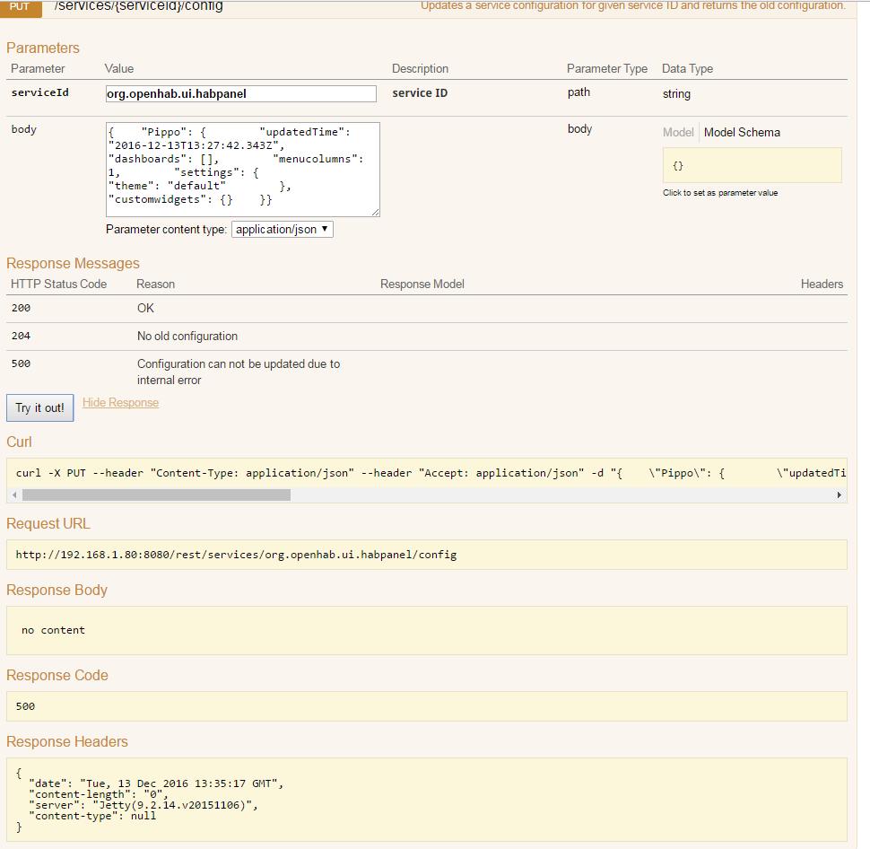 500 Internal Server Error, saving HabPanel configuration